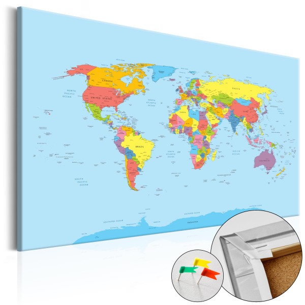 Artgeist Korkbild - Rainbow Geography [Cork Map]