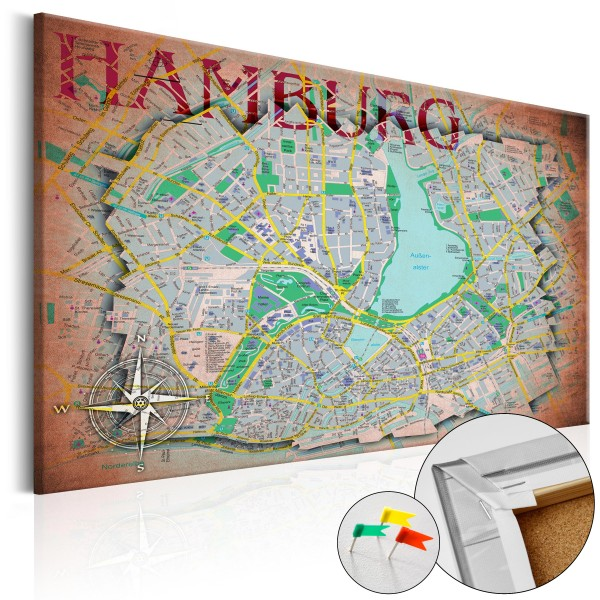 Artgeist Korkbild - Hamburg [Cork Map]
