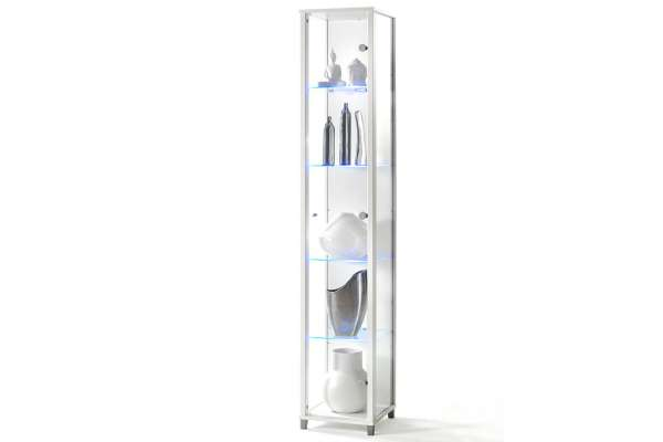 fif-Möbel Vitrine Optima 1-türig mit Glaskantenbeleuchtung