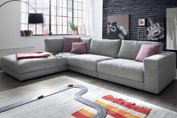 Candy Ecksofa Giant 325x222cm in platin