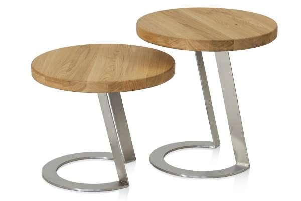Henke Möbel Beistelltisch-Set EAB40/EAB50 Eiche-Altholz Edelstahl