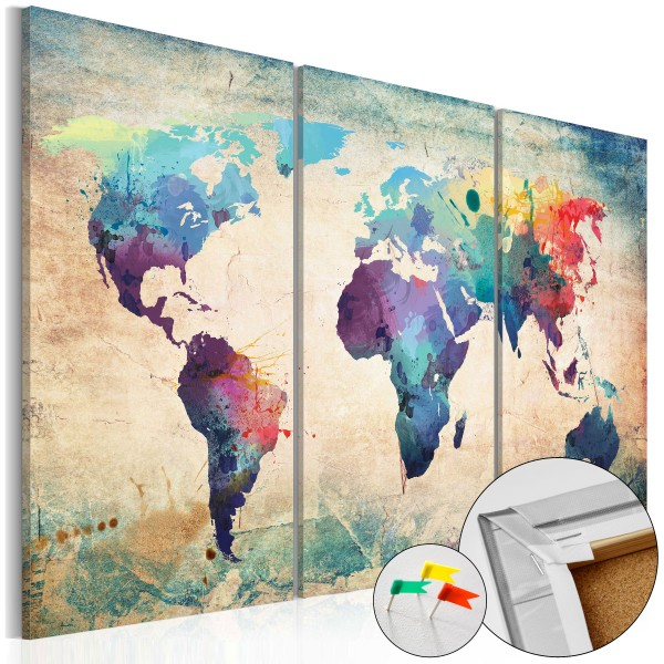 Artgeist Korkbild - Rainbow Map [Cork Map]