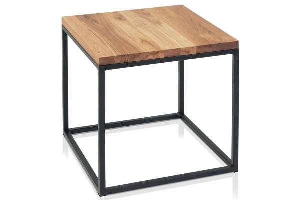 Henke Möbel Beistelltisch 40x40 Industrial Asteiche massiv