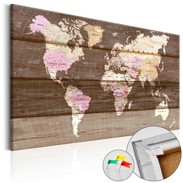 Artgeist Korkbild - Wooden World [Cork Map]