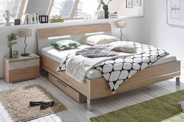 Staud Sinfonie Plus Bett mit Holz/Glaskopfteil 2 Eiche natur