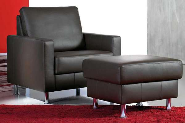 Bali Ledersessel Flexain inkl. Hocker in 20-1010 schwarz
