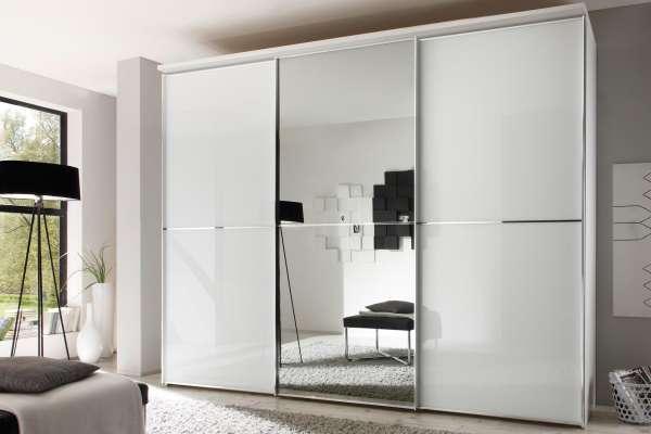 Staud Sinfonie Plus Kleiderschrank weiß / Alpinweissglas mit Spiegel