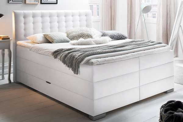 Meise Möbel Boxspringbett Lenno in weiß mit Bettkasten