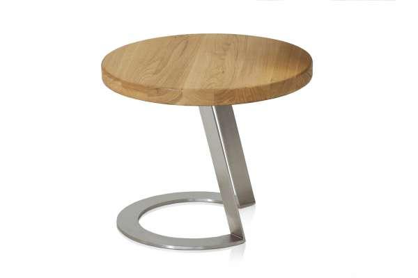 Henke Möbel Beistelltisch EB50 Eiche massiv Edelstahl