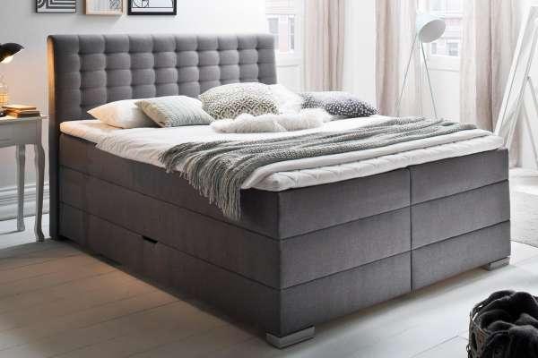 Meise Möbel Boxspringbett Lenno in grau mit Bettkasten