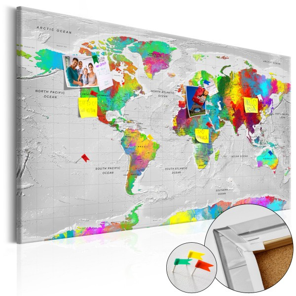 Artgeist Korkbild - Maps: Colourful Finesse [Cork Map]