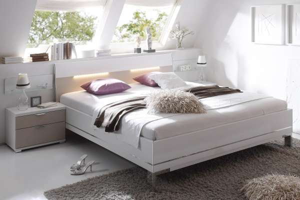 Staud Sinfonie Plus Bett weiß mit Kopfteil 2 weiß/sand
